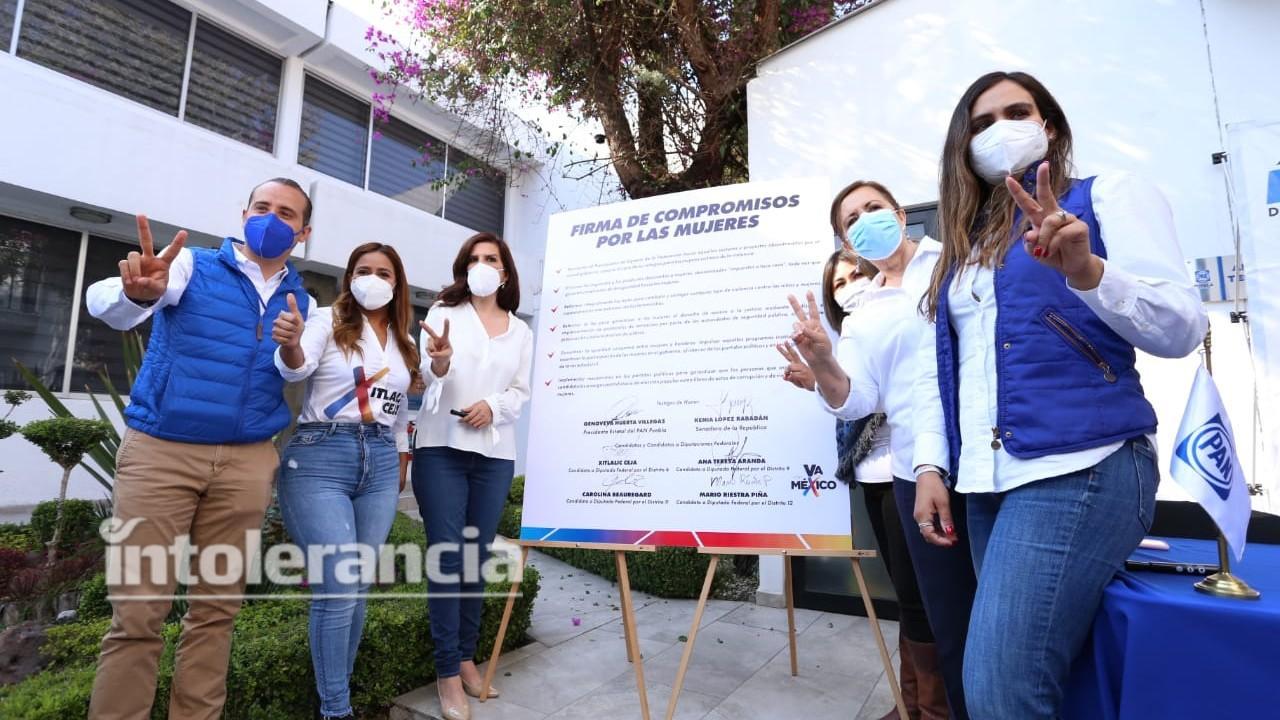 """Firman candidatos """"Va por México"""" compromisos contra violencia de género"""