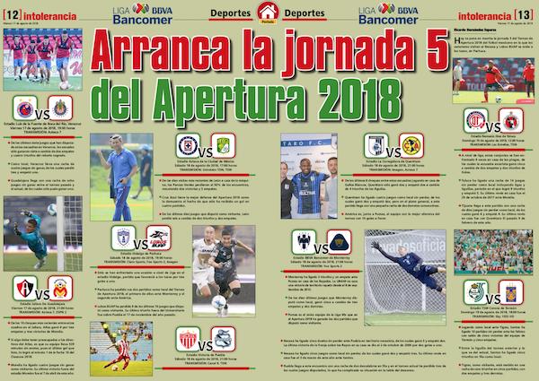 Arranca la jornada 5 del Apertura 2018