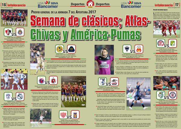 Semana de clásicos; Atlas- Chivas y América-Pumas